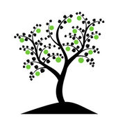 Apple tree silhouette — Stock Vector
