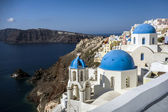Blue and white church of Oia village ,Santorini — 图库照片