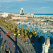 Barcelona port view from the air. - Stock Photo