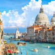 Venice, view of grand canal and basilica of santa maria della sa - Stock Photo