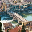 View of Adige river and St Peter bridge, Verona, Italy. — Stock Photo