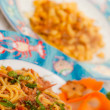 Spaghetti with seafoood with Gnocchi in backround — Stok Fotoğraf #12237682