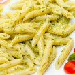 Italian pasta Penne with Pesto. - Stock Photo