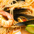 Spaghetti with mussels, clams and shrimp. — Stock Photo