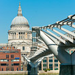 St. paul&#039;s cathedral and Millennium Bridge, London, UK. - Stock Photo