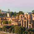 View of Circus  maximus and Vittorio emanuele monument at sunset - Stock Photo