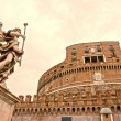 Castel Sant'angelo and Bernini's statue at sunset, Rome, Italy. — Stock Photo