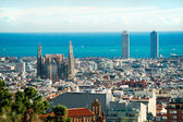 View of Sagrada Familia and port from Park Guell. Barcelona, Spa — Stock Photo