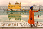 AMRITSAR, INDIA - DECEMBER 17: Sikh pilgrims in the Golden Templ — Stock Photo