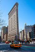NEW YORK -MARCH 29: Flat Iron building facade on March 29, 2011. — Stock Photo