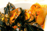 Italian Seafood Soup with mussels and clams. — Stock Photo