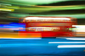 Blurred motion picture of a double-decker bus, London, Uk. — Stock Photo