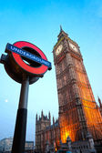 LONDON MARCH 17: The Big Ben. The London 'Underground' logo will be used for other transportation systems - has been announced by Transport for London (TfL), taken March 17, 2011 in London — Foto de Stock