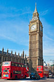 De big ben, de kamer van het parlement en de westminster bridge — Stockfoto