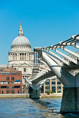 St. paul's cathedral and Millennium Bridge, London, UK. — Stock Photo