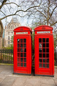 Two red telephone box outside the natural history museum. London — Stock Photo