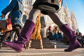 MILAN - DECEMBER 11: Tourists at Piazza Duomo on December 11, 20 — Stock Photo
