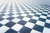 Black and White Tiled floor of the Terrazza Mascagni, Livorno, T — Stock Photo
