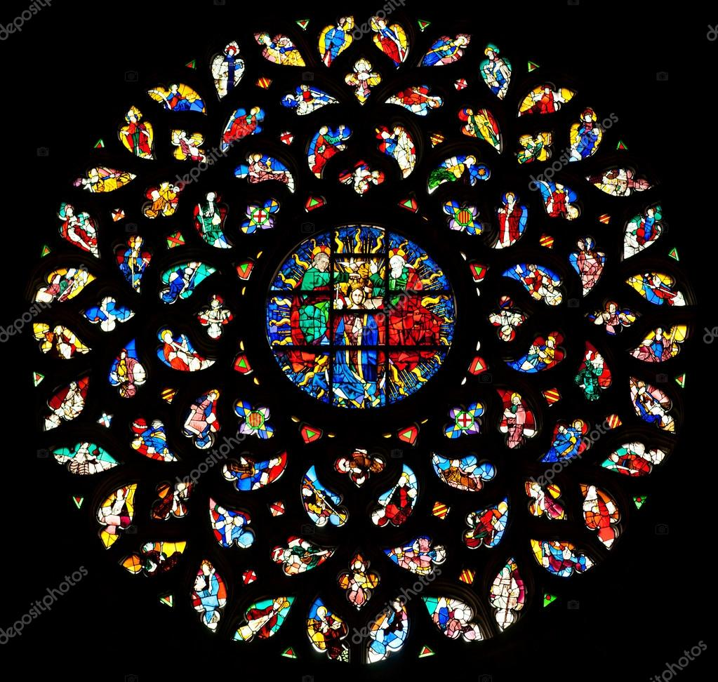 The rosette window of Santa Maria del Mar, Barcelona. — Stock Photo #12236834