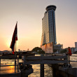 Sunset at Si Phraya Pier, bangkok, Thailand. - Stock Photo