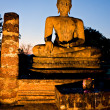 Stock Photo: Buddhilluminated at night, Sukhothai, Thailand,
