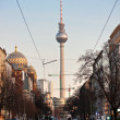 Television tower and mosque in Berlin, Germany. — Stok fotoğraf