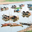 Boats in a harbor in the Mekong delta, Vietnam — Stock Photo