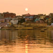 Stock Photo: Varanasi (Benares) at sunset, uttar Pradesh, India.