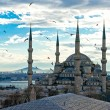 Sunset over The Blue Mosque, (Sultanahmet Camii), Istanbul, Turkey. — Stock Photo