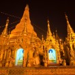 Shwedagon Paya at night, Yangoon, Myanmar. - Stok fotoğraf