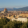 Florence, view of Duomo and Giotto's bell tower, and Santa croce - Stock Photo