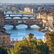 Panoramic view of Florence and Ponte Vecchio. - Stock Photo