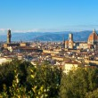 Florence, view of Duomo, Giotto's bell tower and Palazzo vecchio - Stock Photo