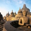 Borobudur Temple at sunrise, Yogyakarta, Java, Indonesia. - Stok fotoğraf