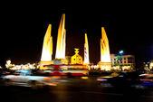 Democracy monument at night, bangkok, Thailand. — Stock Photo
