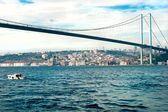 Ortakoy mosque and Bosphorus bridge, Istanbul, Turkey. — Stock Photo