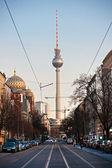 Television tower and mosque in Berlin, Germany. — Stock Photo