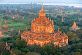 View of Bagan from the Hot Air Balloon at sunrise, Myanmar. — Stock Photo