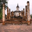 Wat Mahathat at sunrise, Sukhothai, Thailand, — Stock Photo