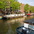 Amsterdam, Canals, boat and bike. - Stock Photo