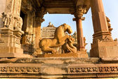 Temple in Khajuraho at sunset. Madhya Pradesh, India. — Stock Photo