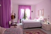 Interior of Beautiful bedroom with large window. — Stock Photo