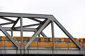 Metro over the bridge, Berlin, Germany. Isolated on white. — Stock Photo