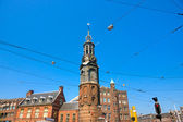 Amsterdam, Tram and Church near Dam Square — Stock Photo