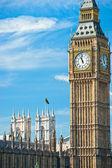 Big ben, riksdagshuset och westminster bridge — Stockfoto