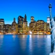 Manhattan Skyline and The Statue of Liberty at Night, New York C — Stock Photo