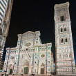 Florence, view of Duomo and Giotto bell tower, Santa croce and palazzo signoria at sunset from Piazzale Michelangelo - Stok fotoğraf