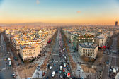 View from Arc de triomphe of Champs elysees, Paris — Stock Photo