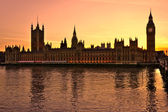 The Big Ben and the House of Parliament at sunset, London, UK — Stock Photo