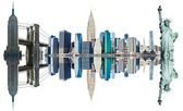 New York City Landmarks, USA. Isolated on white. — Stock Photo